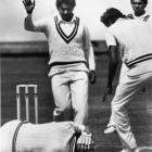 New Zealand batsman Lance Cairns lies on the Carisbrook pitch after being struck on the head by a...