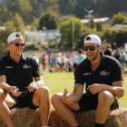 New Zealand egg throwing and catching champions Brent Newdick (left) and Luke Wainui. Photo by...
