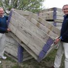 New Zealand Merino Shearing and Wool Handling Society president Mervyn Kinaston (left) and past...
