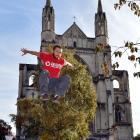 New Zealand Parkour Association president Damien Puddle, of Hamilton, tests  Dunedin's central...
