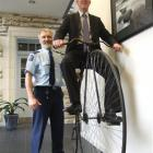 New Zealand Police Association president Greg O'Connor samples a taste of Oamaru yesterday,...