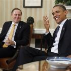 New Zealand Prime Minister John Key (left) and US President Barack Obama in the Oval Office of...