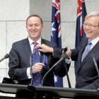 New Zealand Prime Minister John Key, left, with Australian Prime Minister Kevin Rudd, Parliament...