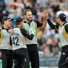 New Zealand's Daniel Vettori celebrates the wicket of India's Yuraj Singh in a T20 matach at...