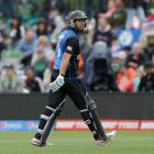 New Zealand's Ross Taylor  walks off the field after being dismissed against by Sri Lanka during...