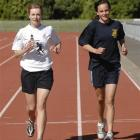 New Zealand schools representatives Anna Kean (left) and Rebekah Greene train at the Caledonian...