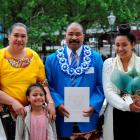 Newly sworn New Zealand citizen Rev Sione Pule, of Tonga, with wife Ngaluafe and two of his...