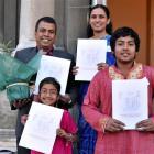 Newly sworn New Zealand citizens Abdul Mannan and Momtaj Begum, with their children, Mridula...