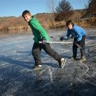 Nice ice for skaters such as Joey Vilela (left) and Jacob Sawers (both 11), of Alexandra, but...