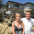Nicky and Chris Wordsworth in front of the new house they are having built on their Torbay section.