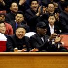 North Korean leader Kim Jong-un (L) and former NBA star Dennis Rodman watch an exhibition...