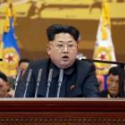 North Korean leader Kim Jong un speaks during a meeting of training officers of the Korean People...