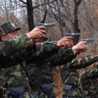 North Korean soldiers take part in a shooting drill in an unknown location at the weekend....