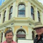 North Otago Club president Peter Garvan (left) and architect Ian Butcher show the original sketch...