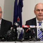 Novopay Minister Steven Joyce, right, with acting Secretary of Education Peter Hughes, at the...