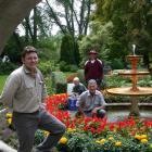Oamaru Public Gardens curator Lucas Le Roux (front) and gardeners Chris Johnson (standing),...