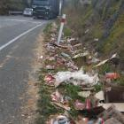 Packets of biscuits lie strewn along State Highway 1 by the Deborah overbridge yesterday...