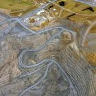 Oceana Gold's open cast Frasers pit, showing the Frasers underground tunnel portal (centre of...
