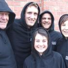 Modelling their hooded jackets are (from left) Derek Beveridge, Mike Plant, Jeremy Holding, Jess...