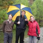 Olive Grove Lodge's Lyn Simpson (right) beside the Waianakarua River with (left) Green Party...