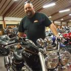 Wes Hamilton and his Triumph Rocket 3 at the Whitestone Motorcycle Touring Club's motorcycle show...
