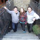 On the steps leading down to new live music venue Vinyl Underground are co-director Ben Calder ...