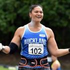 On top of the world ... Double Olympic shot put gold medallist Valerie Adams reacts after...