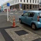 One of four ''tree pits'' in Bond St, Dunedin, that was filled in this week because it was too...