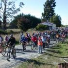 Some of about 400 people who yesterday took part in the ''Over the Tunnels'' bike ride and walk...