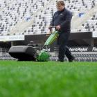 Forsyth Barr Stadium groundsman Brendan Eathorne completes another 8km walk while mowing the...