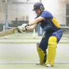 Otago batsman Shaun Haig practises his trademark square drive at the Edgar Centre earlier this...