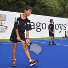 Otago Boys' High School pupils Ayoub Ahmad (left, 13) and Michael Ruske (13) get set to play on...