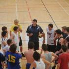Otago Boys High School coach Brent Matehaere lays down the law to his senior side at a practice...