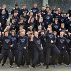 Otago Boys' High School pupils perform a haka before departing yesterday on a three-week Europe...