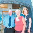 Otago Community Hospice funding and marketing co-ordinator Lyn Chapman (centre) joins with Public...