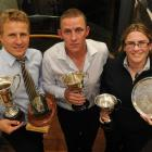 Otago cricket award winners (from left) Neil Wagner, Craig Cumming and Tanya Morrison with their...