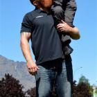 Otago Daily Times reporter Guy Williams interviews strongman Reuben de Jong. Photo by Stephen...