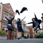 Otago Girls High School pupils (from left) Sarah Walker (16), Melinda Yee (15) and Aki Nagao (16...