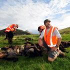 Otago Peninsula Biodiversity Group project manager Richard Wilson with a pile of dead possums,...