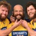 Otago players (from left) Liam Coltman, Tama Tuirirangi and Kieran Moffat embrace the  beards...