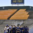 Otago players huddle at Carisbrook yesterday morning before heading to Invercargill for today's...