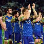Otago players looking dejected after losing the Ranfurly Shield yesterday are (from left) Fa'asiu...