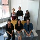 Otago Polytechnic design students (back, from left) Hedwig Koek, Finley Hitchen, Sholto Lee, ...