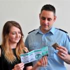 Otago Polytechnic third-year nursing student Katie Officer (21) and Senior Sergeant Chris...