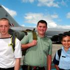 Otago sea, army and air cadets (from left) Petty Officer Tyler Stenton-Martin (17), of Dunedin,...