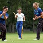 Otago Sparks player-coach Clare Taylor (centre) gives Sarah Tsukigawa (left) and Suzy Bates...