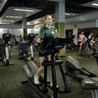 Otago University commerce and science student Jacinda Murphy works out on an exercise machine in...