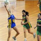 Otago wing attack Camilla Lees gets her fingertips to the ball during a national championship...