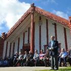 Otakou runanga elder Edward Ellison welcomes the more than 500 people to Otakou marae yesterday.