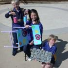 Papakaio School pupils with some of the goods made from recycled materials sold last week. From...